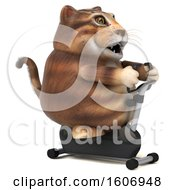 Clipart Of A 3d Tabby Kitty Cat Holding A Spin Bike On A White Background Royalty Free Illustration