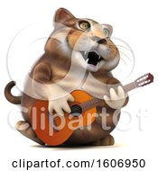 3d Tabby Kitty Cat Holding A Guitar On A White Background