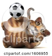 3d Tabby Kitty Cat Holding A Soccer Ball On A White Background