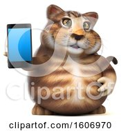 3d Tabby Kitty Cat Holding A Cell Phone On A White Background