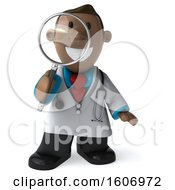 Clipart Of A 3d Short Black Male Doctor Holding A Magnifying Glass On A White Background Royalty Free Illustration