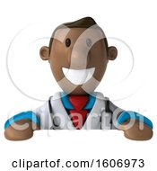 3d Short Black Male Doctor Over A Sign On A White Background