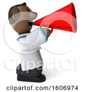 3d Short Black Male Doctor Using A Megaphone On A White Background