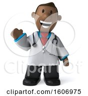 Clipart Of A 3d Short Black Male Doctor Waving On A White Background Royalty Free Illustration