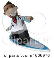 3d Short Black Male Doctor Surfing On A White Background