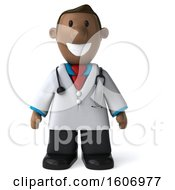 Clipart Of A 3d Short Black Male Doctor On A White Background Royalty Free Illustration by Julos