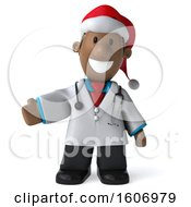 3d Short Black Male Doctor Presenting And Wearing A Christmas Santa Hat On A White Background