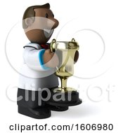 3d Short Black Male Doctor Holding A Trophy On A White Background