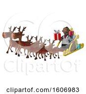 3d Short Black Male Doctor Holding A Gift On A Christmas Sleigh On A White Background