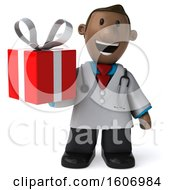 3d Short Black Male Doctor Holding A Gift On A White Background