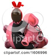 Clipart Of A 3d Pink Business Elephant Holding A Chocolate Egg On A White Background Royalty Free Illustration