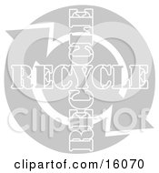 Two Arrows Moving In A Circular Clockwise Motion Around Recycle Text Clipart Illustration