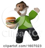 3d Casual Black Man Holding A Burger On A White Background