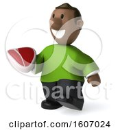 3d Casual Black Man Holding A Steak On A White Background