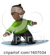 3d Casual Black Man Surfing On A White Background