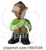 Clipart Of A 3d Casual Black Man With Stomach Pain Laughing Or Sneezing On A White Background Royalty Free Illustration