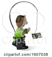 Clipart Of A 3d Casual Black Man Chasing Money On A White Background Royalty Free Illustration