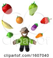 3d Casual Black Man With Produce On A White Background