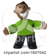 Clipart Of A 3d Casual Black Man Welcoming On A White Background Royalty Free Illustration