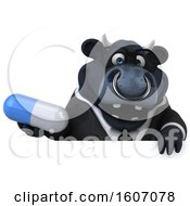 3d Black Business Bull Holding A Pill On A White Background