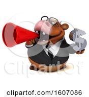 Poster, Art Print Of 3d Brown Business Cow Holding A Dollar Sign On A White Background