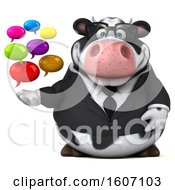 3d Business Holstein Cow Holding Messages On A White Background