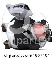 Poster, Art Print Of 3d Business Holstein Cow Holding A Plane On A White Background