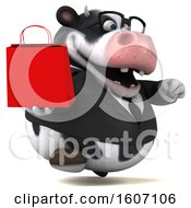 3d Business Holstein Cow Holding A Shopping Bag On A White Background