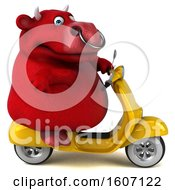Clipart Of A 3d Red Bull Riding A Scooter On A White Background Royalty Free Illustration