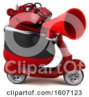 Clipart Of A 3d Red Business Bull Riding A Scooter On A White Background Royalty Free Illustration