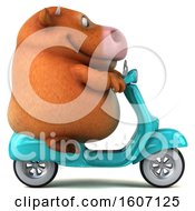 Clipart Of A 3d Brown Cow Riding A Scooter On A White Background Royalty Free Illustration