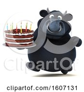 Poster, Art Print Of 3d Black Bull Holding A Birthday Cake On A White Background