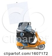 Clipart Of A 3d Business Gorilla Riding A Scooter On A White Background Royalty Free Illustration by Julos