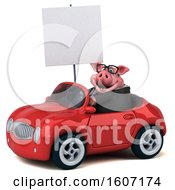 3d Chubby Business Pig Driving A Convertible On A White Background