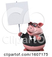 3d Chubby Business Pig Holding A Blank Sign On A White Background