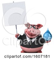 3d Chubby Business Pig Holding A Water Drop On A White Background