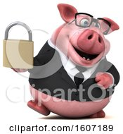 3d Chubby Business Pig Holding A Padlock On A White Background