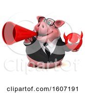 3d Chubby Business Pig Holding A Devil On A White Background