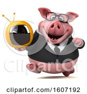 3d Chubby Business Pig Holding A Tv On A White Background