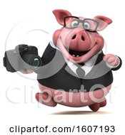 3d Chubby Business Pig Holding A Camera On A White Background