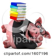 3d Chubby Business Pig Holding Books On A White Background