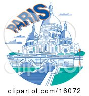 The Basilica Of The Sacred Heart In Paris France Clipart Illustration