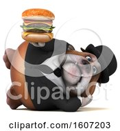 Clipart Of A 3d Gentleman Or Business Bulldog Holding A Burger On A White Background Royalty Free Illustration