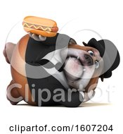 Clipart Of A 3d Gentleman Or Business Bulldog Holding A Hot Dog On A White Background Royalty Free Illustration