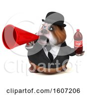 Clipart Of A 3d Gentleman Or Business Bulldog Holding A Soda On A White Background Royalty Free Illustration by Julos