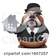 Clipart Of A 3d Gentleman Or Business Bulldog Holding A House On A White Background Royalty Free Illustration by Julos