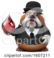 Clipart Of A 3d Gentleman Or Business Bulldog Holding A Blood Drop On A White Background Royalty Free Illustration