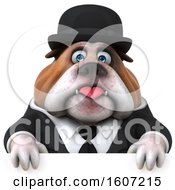 Clipart Of A 3d Gentleman Or Business Bulldog Over A Sign On A White Background Royalty Free Illustration