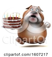 Clipart Of A 3d Bulldog Holding A Birthday Cake On A White Background Royalty Free Illustration