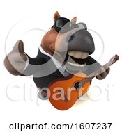 3d Chubby Brown Business Horse Holding A Guitar On A White Background
